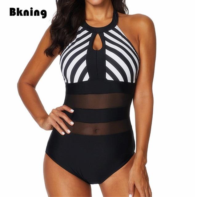 Bkning XXL Swimsuits Female One 1 Piece Swimwear Plus Size Bathing Suit High Neck Transpare Mayokini Large Mesh Striped Badpak