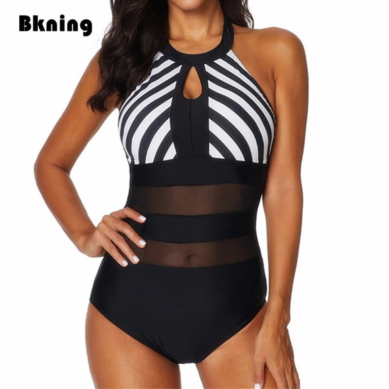 87566a2213c2 Bkning XXL trajes de baño mujer uno 1 pieza de baño Plus tamaño traje de  baño de cuello alto ...