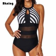 Bkning Xxl Zwempakken Vrouwelijke Een 1 Stuk Badmode Plus Size Badpak Hoge Hals Transpare Mayokini Grote Mesh Gestreepte Badpak