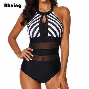 Image 1 - Bkning Xxl Zwempakken Vrouwelijke Een 1 Stuk Badmode Plus Size Badpak Hoge Hals Transpare Mayokini Grote Mesh Gestreepte Badpak