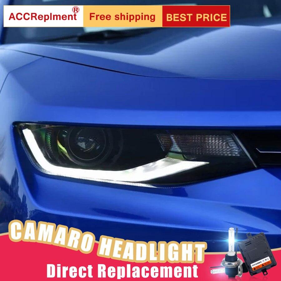 2 шт светодиодный фары для Chevrolet Camaro 2014 2015 светодиодный огни автомобиля глаза ангела xenon HID комплект протовотуманная подсветка Габаритные ог
