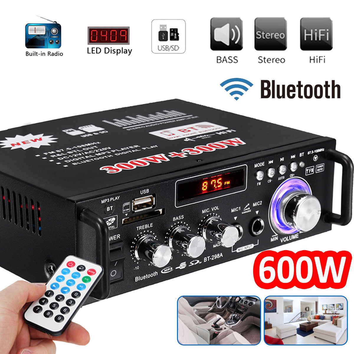 600W 220V/110V Amplifiers Amplifier Audio Amplifier Bluetooth Subwoofer Mini Amplifier Home Theater Sound System Equalizer