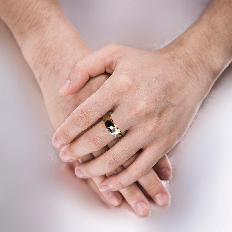 Vente chaude 8mm largeur or couleur placage tungstène anneaux pour homme femme fiançailles prisme conception hommes bande Alianca De Casamento - 6
