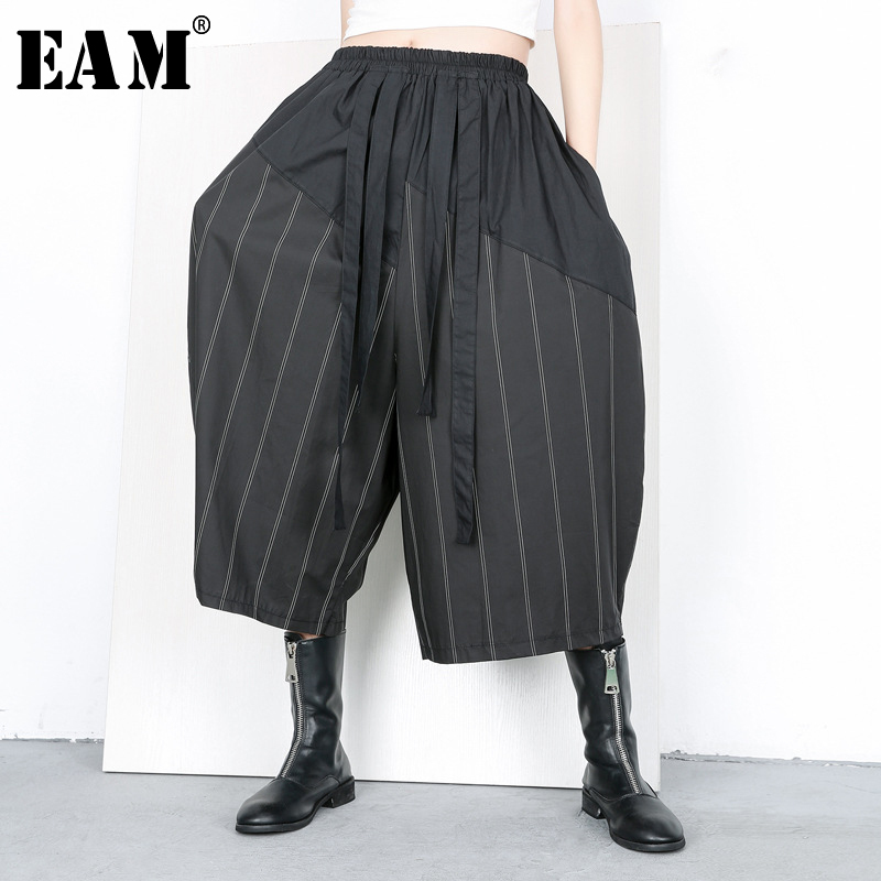 [EAM] 2019 New Spring Summer High Elastic Waist Black Striped Stitch Loose   Wide     Leg     Pants   Women Trousers Fashion Tide JQ635
