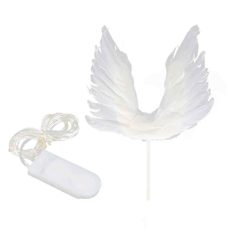 1 pc anjo asa bolo topper pena led luz cupcake picaretas toppers para a festa de aniversário da menina casamento