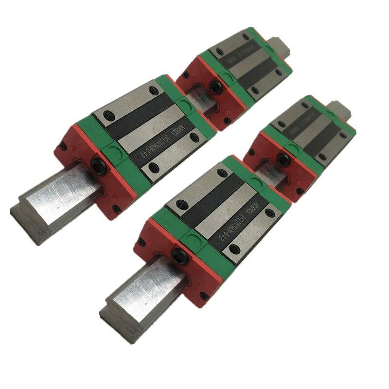 2pcs Linear Rail HGR25- L200/300/400/500/550/600/700/800/900/1000mm + 4pcs HGH25CAbearing block Guideway Block Carriages