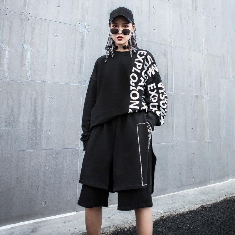 Longitud Elástica Ancha Cintura De Rodilla Sueltos Moda Mujer Estampado Marea Negro Primavera Asimétrica 2019 Carta Nueva Black Pantalones Pierna Sispell wpYqtfx