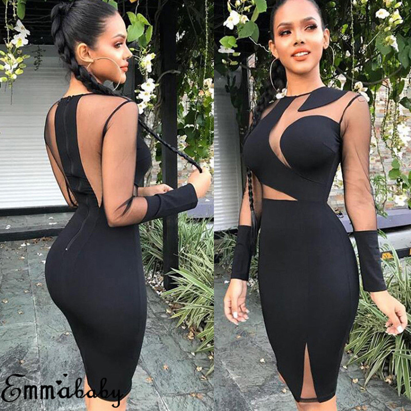2018 Brand New Fashion <font><b>Sexy</b></font> Women Lady Long Sleeve Bandage <font><b>Bodycon</b></font> Casual Solid Party Cocktail <font><b>Club</b></font> Short Mini <font><b>Dress</b></font> image