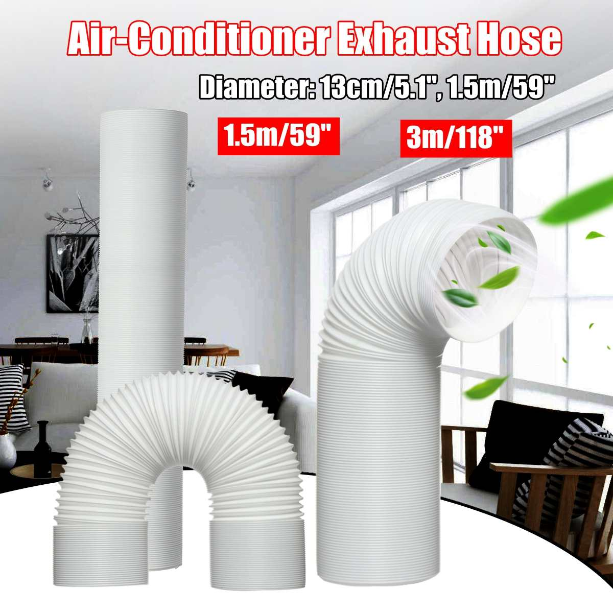 Portable 59 /118 Air Conditioner Window Pipe Interface Exhaust Hose TubePortable 59 /118 Air Conditioner Window Pipe Interface Exhaust Hose Tube
