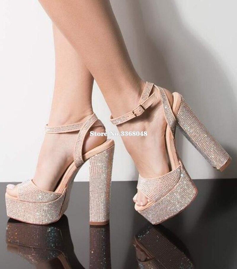 Nouveauté plate-forme talons épais sandale pour femme Bling Bling cristal bout ouvert escarpins d'été Ultra hauts talons femme Banquet chaussures