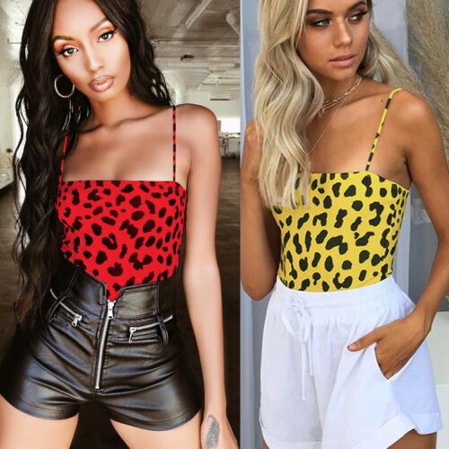2020 Sexy Women Spaghetti Strap Bodycon Bodysuit Leopard Print Romper Bodysuits Ladies Top Leotard Sleeveless