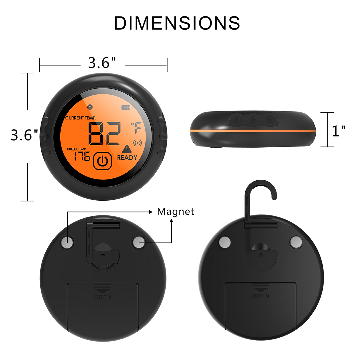 Digital Wireless Food Thermometer with Bluetooth Control and Food Cooking Timer including 6 Probes to Monitor 6 Different Foods 1