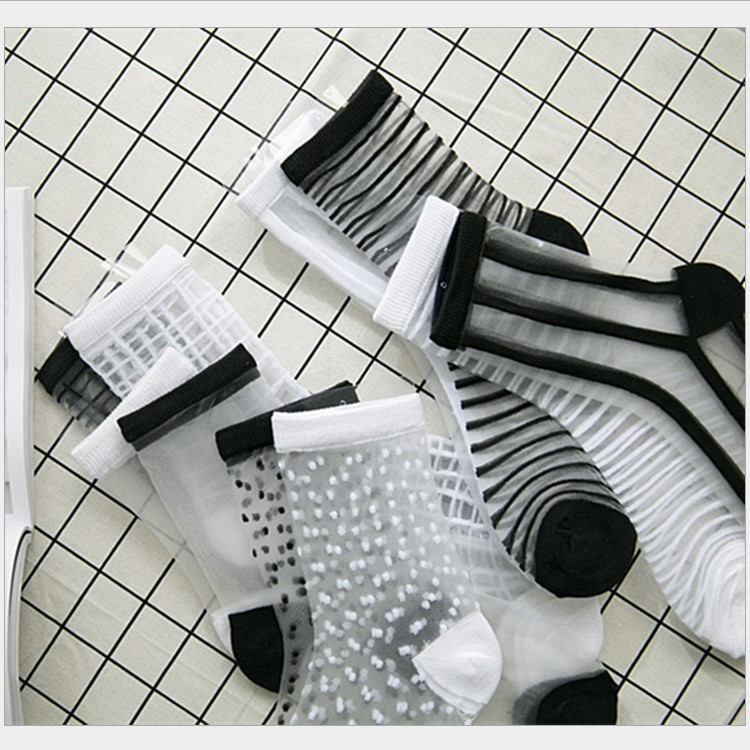 Hipster Harajuku Ankle Socks Women Fashion Transparent Stripe Short  Female Summer Women's Socks Summer 2019 Black White Socks