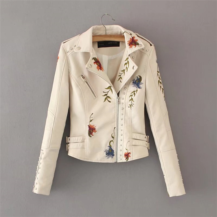 Women Floral Print Embroidery Faux Soft   Leather   Jacket Casual Pu Motorcycle Black Punk Outerwear