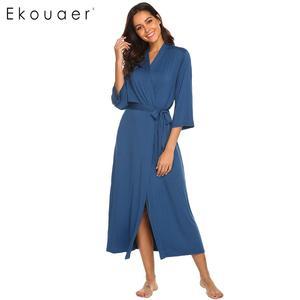 Image 2 - Ekouaer Lange Gewaad Dressing Gown V hals Lange Mouw Gewaad Nachtkleding Nachtjapon Badjassen Vrouwen Solid Casual Comfortabele Losse Gewaden