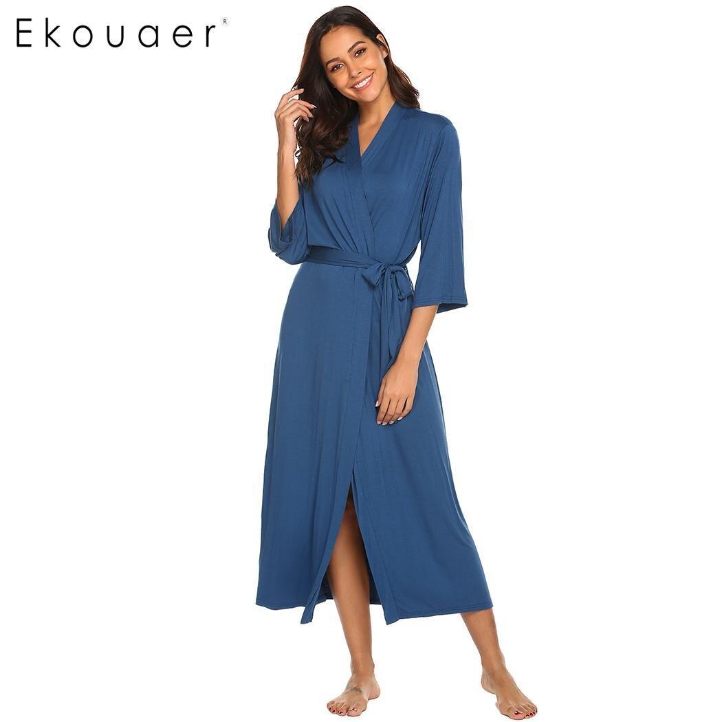 Image 2 - Длинное платье Ekouaer, с треугольным вырезом и длинным рукавом, ночная рубашка, Женские однотонные Повседневные Удобные свободные халатыХалаты    АлиЭкспресс