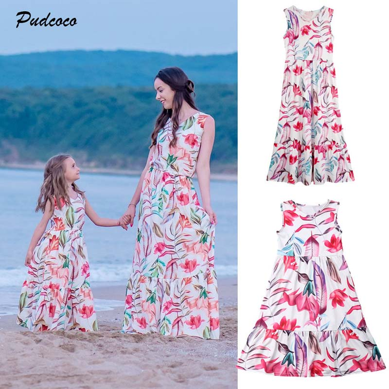 2019 Brand Summer Family Matching Clothes Dress New Boho Mom