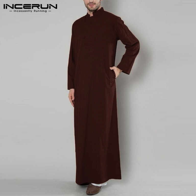 2019 INCERUN 男性ローブドレスカフタン秋全身長袖 Jubba トーブ Camisas Masculina サウジアラビア 5XL イスラム教徒の服