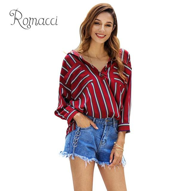 c1b700ae509eb New Sexy Women Striped Print Blouse Buttons Turn-Down Collar Long Sleeve  Slit Loose Shirt Elegant Ladies Casual Tops Pullover