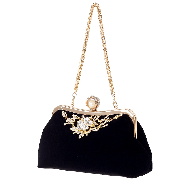Female Diamond Pearl Handbag Vintage Crystal Flower Evening Bag Wedding Party Bride Clutch Bag PurseFemale Diamond Pearl Handbag Vintage Crystal Flower Evening Bag Wedding Party Bride Clutch Bag Purse
