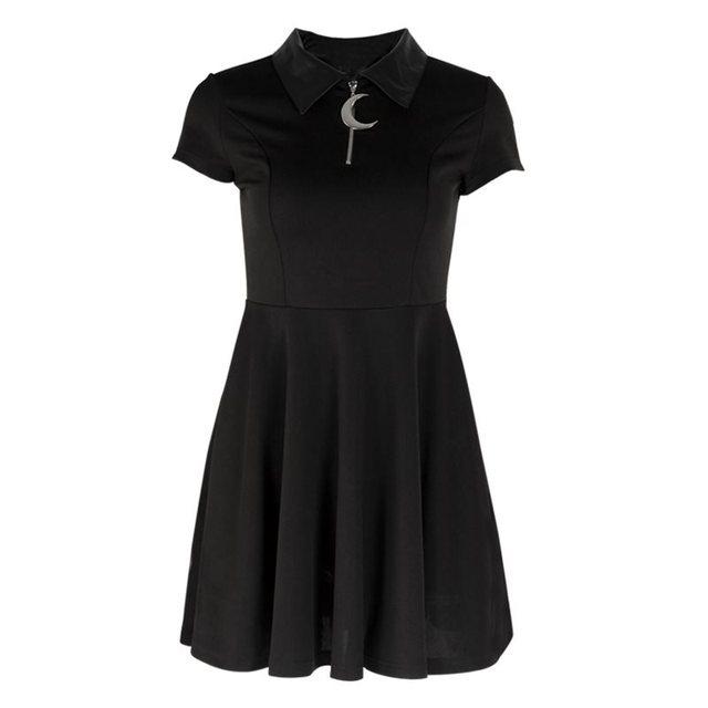 Brand Gothic Mini Dresses Women Black Street Punk Zipper A Line Summer Preppy Style Girl Stylish Goth Pleated Casual Shirt Dress