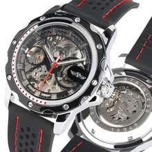 Mechanical Watch Automatic Waterproof Silicone Watch Strap Skeleton Transparent Mechanical Wristwatches for Male montre homme все цены