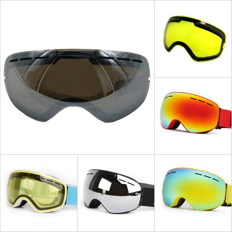 Double-layer Anti-glare Lenses Ski Night Vision Goggles Mask Lens Anti-fog Snowboard Winter Snow Sports Skiing Lens