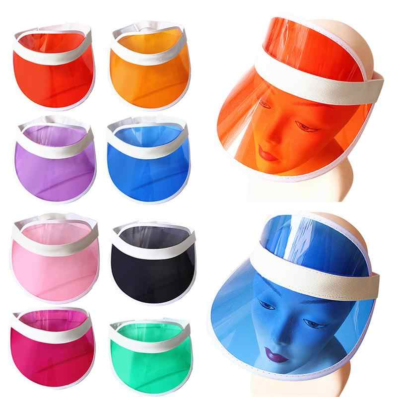 Detail Feedback Questions about Summer Candy Color Sun Hat Transparent  Plastic PVC Ultraviolet Proof Visor Cap Unisex Women Men Sunshade Sunhat on  ... 9c50cc32a0a8