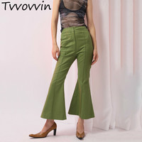2019 New Spring High Waist Gree Line Stitching Loose All match Personality Flare Pants Women Trousers Fashion E693