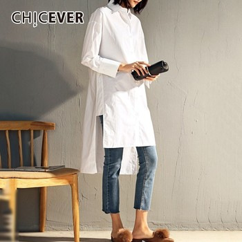 CHICEVER Plus Size Women's Shirts Blouse Top Female Asymmetric Long Sleeve Loose Casual Shirt Tops Spring Clothes Fashion Korean asymmetric long sleeve top