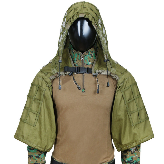 Camouflage Sniper Hunting Clothes Tactical Army Training Shooting CS Wargame Ghillie Suit Outdoor  DIY Ghillie Jacket With Yarn 4