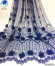 Beautifical 3d applique lace tulle with beads floral fabric flower 5yards/piece for dresses 33N65