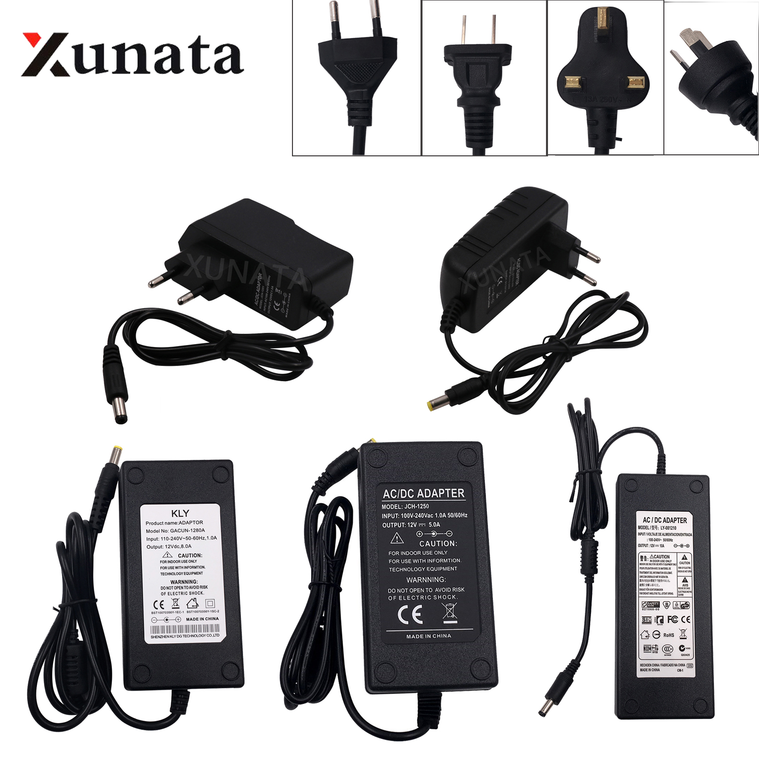 EU US UK AU AC100-240V To DC12V 1A 2A 3A 5A 6A 8A 10A Transformers Power Supply Adapter Converter Charger For LED Light Strip