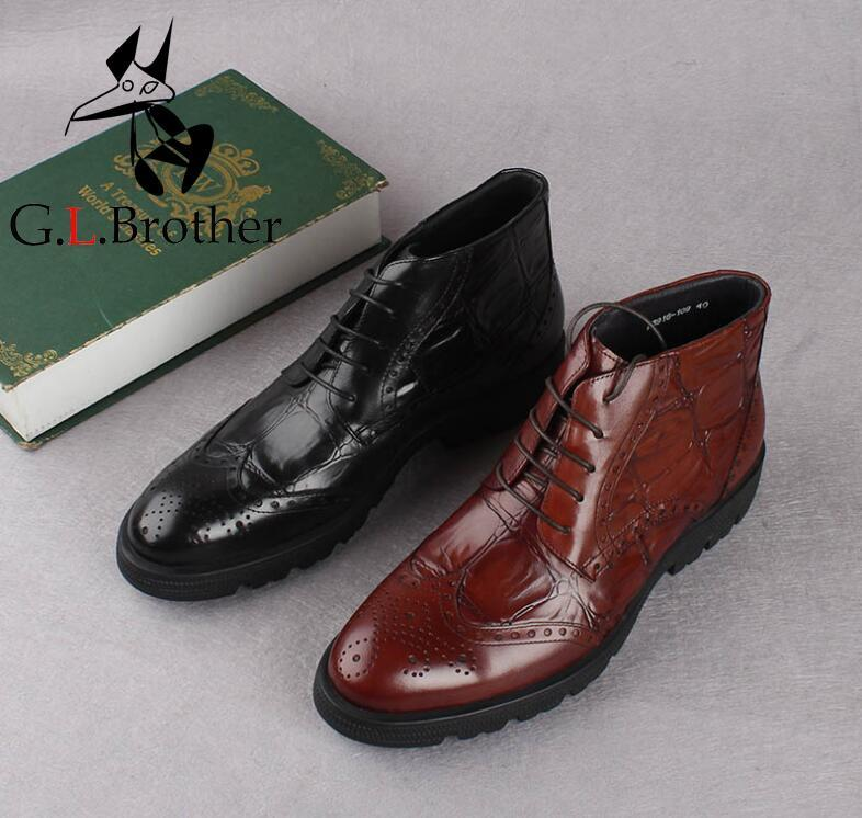 Martin Boots Lace Up Shoes Men Genuine Leather Carved Brogue Smrt Casual High Top Shoes Low Heel Height Increasing Dress Boots