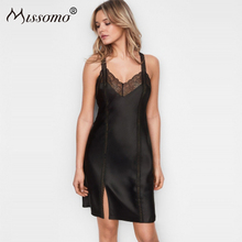 Missomo Sexy Lace Black Nightgown Ladies Lingerie Sleepwear Nightwear Satin Night Dress