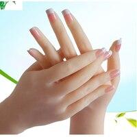 1:1 Lifesize żel silikonowy żeński model dłoni Nail Art praktyka Manicure szkolenia bransoletka biżuteria pierścień wyświetlacz Prop Lab Supplies na