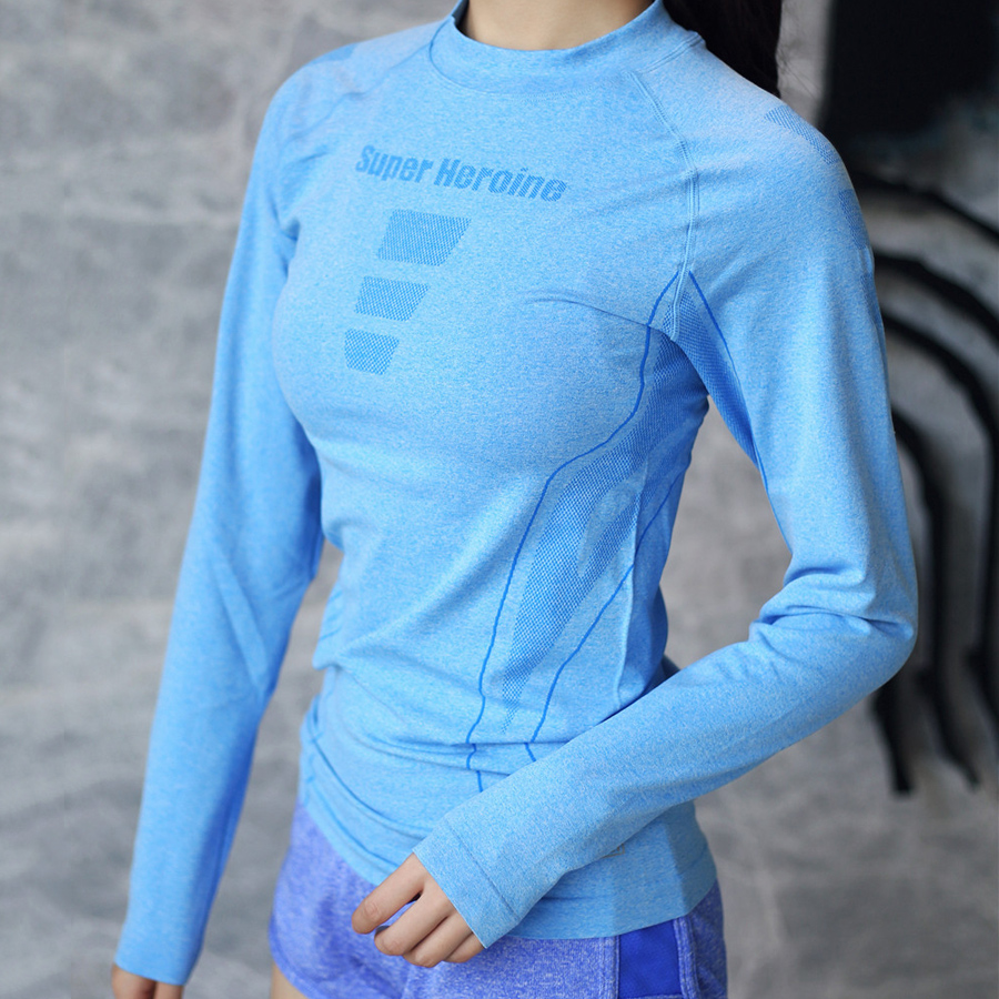 BINAND Round Collar Yoga Top Seamless Letter Print Yoga Shirts Sports Shirt Women Quick Dry Fitness Gym Top Workout Long Sleeve