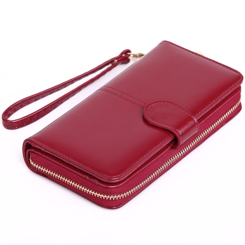 Women Oil Wax Pu Leather Wallet Long Zipper Phone Bag Female Oil Skin Big Money Clip Card Package