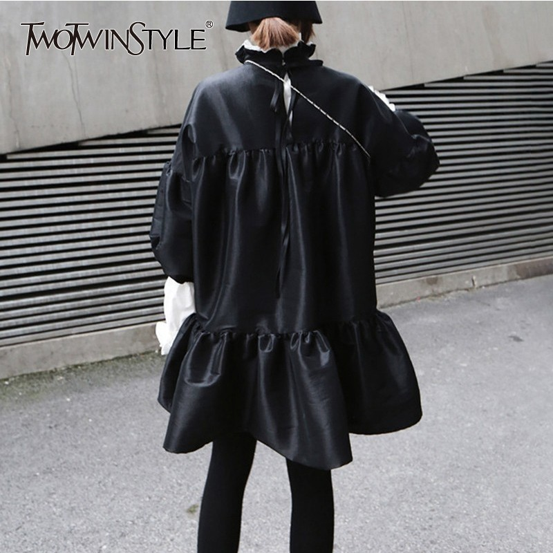 TWOTWINSTYLE Women's Dresses Peter Pan Collar Three Quarter Puff Sleeve Ruffle Ball Gown Dress Female 2019 Autumn Fashion Tide