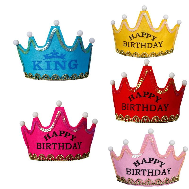 Children's Birthday Party Decoration Crown Birthday Hat With Flash Bulb Festival Party Glowing Crown Cap Fun Toy Hat