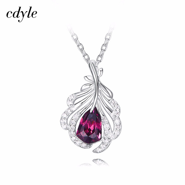 Cdyle Embellished with crystals Pendant 925 Sterling Silver Fashion Jewelry Austrian Rhinestone Purple Bijoux