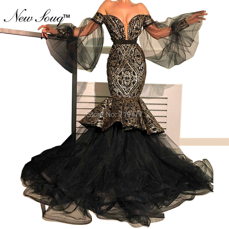 Árabe Dubai Vestido de Noite Preto Mulheres Formal Vestidos Robe De Soiree 2019 Sereia Pageant Vestido de Festa Abendkleider Vestidos de Baile