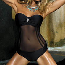 Zwart Netto Een Stuk Badpak Gesloten Push Up Sexy Badmode Strand Body Badpak Stukwerk Swim Wear 2019 Vrouwen S Zwemmen Pak