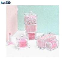 Acrylic square cotton swab box transparent multi-purpose makeup remover cosmetics jewelry lipstick storage