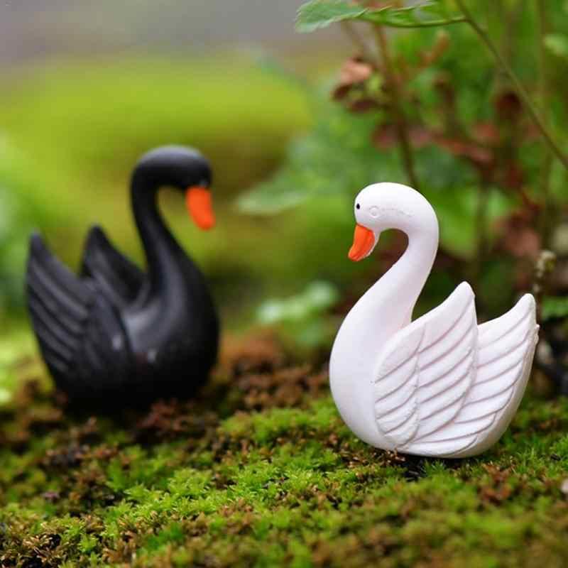 Мини Черный Белый лебедь домашний декор миниатюрное украшение для сада в виде Феи аксессуары Статуэтка Модель Животного статуя стол орнамент фигура