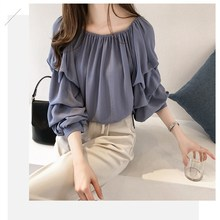 High Quality Women Solid Chiffon Shirts Elastic Slash Neck Loose Blouses Autumn Puff Sleeve Casual Tops