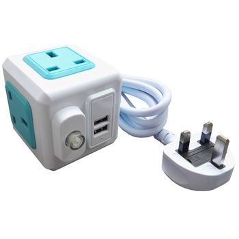 UK Plug Powercube Power Strip With Switch Fused AC Electrical Extension Socket Cord Cable 2.0M 4 Outlets 2 USB 10A 250V image