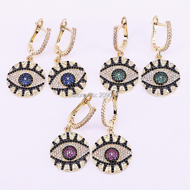 3Pair Trendy Jewelry Cubic Zircon micro pave Eye Round Dangle Earrings Charms For Lady New Arrival