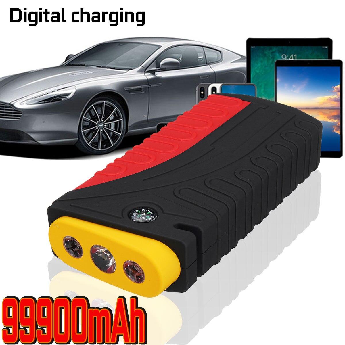 Grande capacité 12 V 600A LED démarrage de voiture démarreur batterie externe Booster 4 USB voiture chargeur de secours batterie étanche