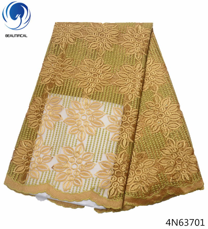Beautifical mesh lace fabric gold lace fabric guangdong african lace fabrics high quality embroidered 5 yards lot dresses 4N637 in Lace from Home Garden